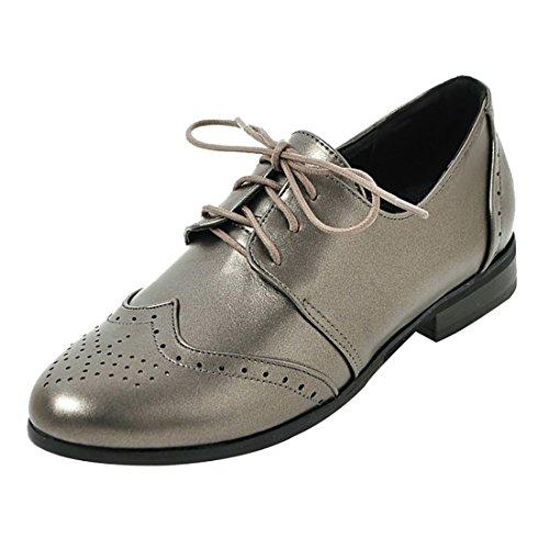 Argente Uh Mode Talon Plates A Chaussures Femmes Lacet De Avec 3 EU4vFW4q