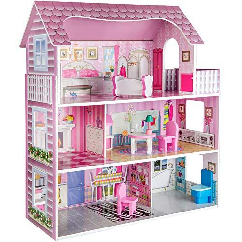 Ricokids Puppenhaus Spielhaus Möbel Puppen Puppenstube aus Holz mit Zubehör
