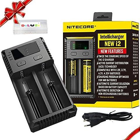 Nitecore Intellicharger i2 2016- Caricabatterie intelligente per batterie agli ioni di litio e NiMH+ DILUSI Cassa di Batteria
