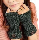TININNA Invierno Cable Knit de Punto sin Dedos Guantes Calentadores de Muñeca para Mujeres Niñas con Diseño Botón Green