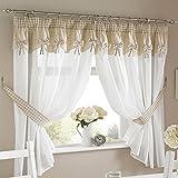 Par de cortinas plisadas para cocina con tapeta y alzapaños, poliéster, Beige White, 46x42'' inches