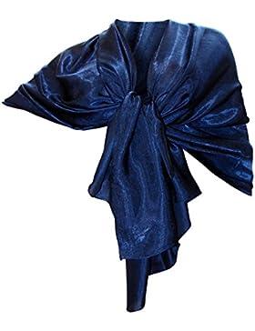 Elegante maxi SCIARPA Scialle Foulard,da Donna Ragazza Coprispalle Stola Cerimonia in Seta 11 Colori Tinta Unita