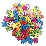 Homyl 100 Stück Bunt Schneeflocken Knopf Weihnachten Holz Knopf mit 2 Löchern für Scrapbooking Handwerk und Nähen