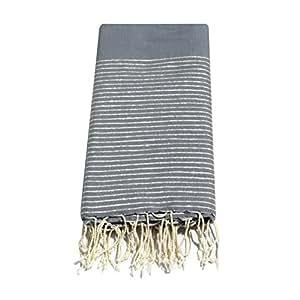 Grande fouta XL fouta gris anthracite et Lurex argent 100% coton 2m x 2,8m foutata XXL : nappe, rideau, couvre-lit, plaid, jeté