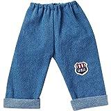 Unbekannt Schwenk Puppenkleidung, Jeanshose mit USA Applikation, Größe 32, für 30 - 33 cm Puppen