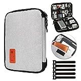 Jamber universal bolsa de viaje cable organizador electrónica accesorios bolsa de transporte caja con juego de bridas para cable, Gris