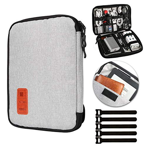 JamBer Universal Travel Cable Organisers Bag Electronic Accessories Carry Case Box with 5pcs Cable Ties,Gray