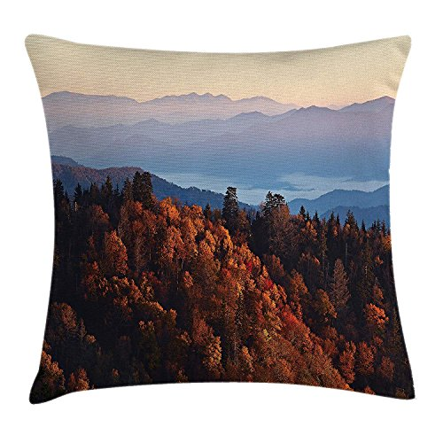 FAFANI National Parks Home Decor Throw Pillow Cushion Cover, Sunrise at Mountains Pine Trees Covered on Hill Mist South Carolina, Decorative Square Accent Pillow Case, 18 X 18 Inches, Multi - Mist Fringe