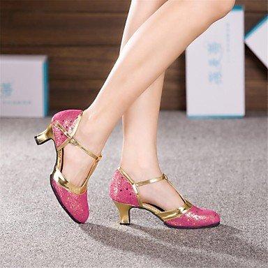 Silence @ Chaussures de danse pour femme en cuir moderne Talon cubain Bleu/rose/argenté/doré Silver