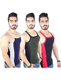 Zimfit Men's Gym Vest Pack Of 3 (Navy_Green_Black)