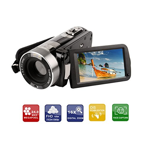 Ckeyin ® Videocamera Full HD, 5 Megapixel, Zoom digitale 16x, Display LCD da 7,6 cm (3,0 Pollici), Stabilizzazione di immagine, Cavo HDMI, Nero