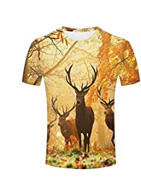 WEIYI BO Mens 3D Animal Print Tees Elk and Fall Maple Leaves Short Sleeve T-Shirts for Couples