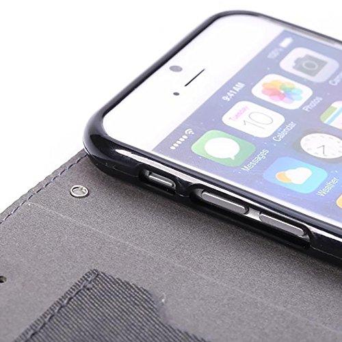 EKINHUI Case Cover Tuch-Beschaffenheit PU-lederner Fall-horizontaler Schlag-Standplatz-Fall-Abdeckung mit Einbauschlitz für iPhone 6 u. 6s ( Color : Black ) Black