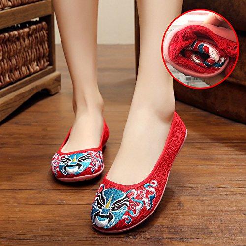 ZLL Gestickte Schuhe, Leinen, Sehnensohle, ethnischer Stil, weiblich, Mode, bequem, net Garn Schuhe , black , 39