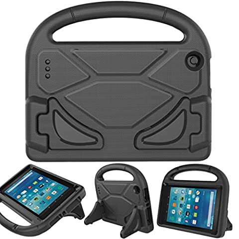 BEARS VS BABIES Fire 7 2015 Case with Screen Protector, Kinder Freundlich Light Weight Cabriolet Griff Stand Hülle für Amazon Fire 7 Tablet(5th Generation 2015 Release) Schwarz