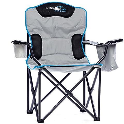 Skandika Outdoor Campingstuhl Deluxe Stuhl, Grau, XL