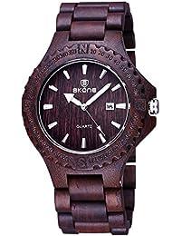 SKONE Natural Sandal Wood Date Nail Scale Quartz Mens Watch (Dark Coffee Ebony)