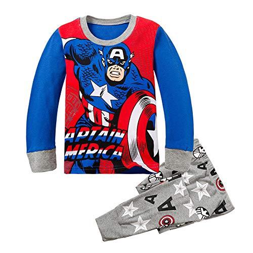 Kleidung Der Karikaturkinder Captain America Jungen Baumwoll Pyjamas Eingestellt Kinder Schlafanzug,1-5T (Kinder America-kleidung Für Captain)