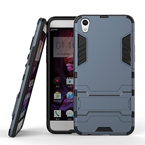 OPPO R9 Fall, 2 in 1 New Armour Tough Art Hybrid Dual Layer Rüstung Defender PC Hard Cases mit Ständer Stoß- Fall für OPPO R9 ( Color : Blue Black , Size : OPPO R9 ) Blue Black