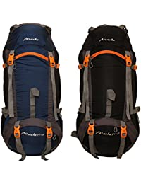 Attache 1026R Rucksack, Hiking Backpack 75Lts (Navy Blue & Black) Set Of 2 With Rain Cover