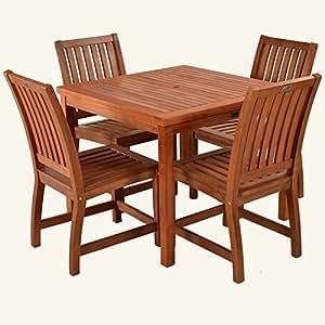 HGG Keruing Hardwood Garden Tisch und 4 Stühle, Terrasse, Garten, Terrasse, für den Außenbereich, aus Holz, für den Garten
