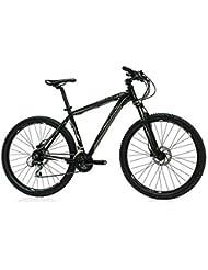 """Monty  KY27 - Bicicleta montaña unisex de 24 velocidades, cuadro de aluminio talla 19"""", frenos disco, horquilla aluminio y ruedas de 27.5"""", color negro"""