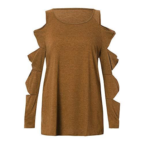 iHENGH Vorweihnachtliche Karnevalsaktion Damen Herbst Winter Bequem Lässig Mode Frauen Herbst Langarm Riemchen Kalte Schulter Solide T Shirt Tops Blusen(L,Khaki)