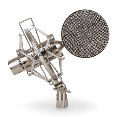 auna CRM15 • Bändchenmikrofon • Profi-Studio-Mikrofon • für hochwertige Vocal- und Gesangsaufnahmen • XLR-Anschluss • Acht-Charakteristik • inkl. Mikrofonspinne und Stativadapter • Aluminium • silber
