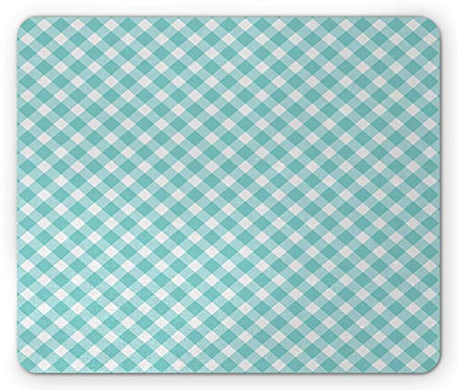Aqua Mouse Pad, Retro Vintage Gingham Pop Art Style Lovers Spring Summer Inspired Artwork, Standard Size Rectangle Non-Slip Rubber Mousepad, Turquoise and White -