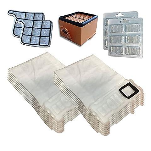 Filterprofi - Kit 12sacs (microfibre) + 12rafraîchisseurs + filtre HEPA / EPA + 2filtres moteur pour aspirateur Vorwerk Folletto Kobold VK 135, 136 , VK135, VK136