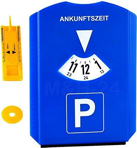 Preisvergleich Produktbild M&H-24 Parkscheibe Parkuhr fürs Auto mit Einkaufswagenchip und Reifenprofilmesser Eiskratzer Kunststoff Blau
