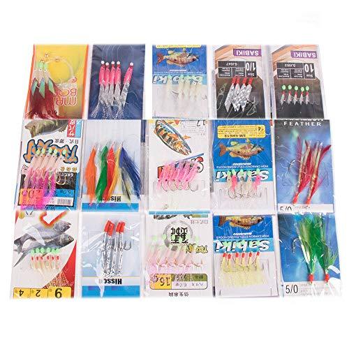 Yoshikawa 65 Pezzi 15 Confezioni di ami per sgombro con Piume, ami per Pesca in Mare Sabiki, Attrezzatura per Pesca alla traina