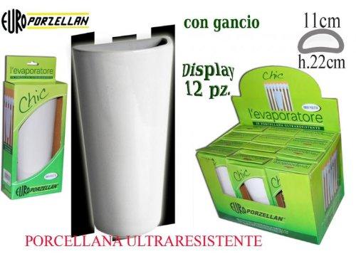 Euro Porzellan evaporador Chic 4humidificador con gancho, porcelana, blanco, 30x 11,5x 21,5cm)