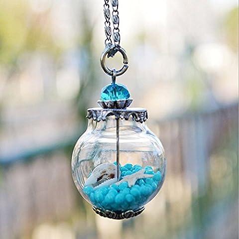 maltonyo17Starfish Conch Flaconcino di vetro bottiglia ciondolo catena lunga collana (Blu)