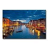 Wandbild Kaiserkanal in Venedig bei Nacht, Leinwanddruck, Giclée-Druck, gespannt und gerahmt