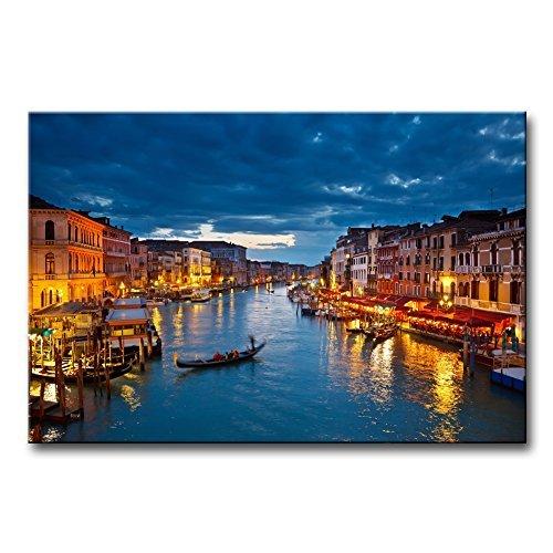 einwand Bild Venedig City View auf Grand Canal bei Nacht Italien Moderne Giclée-gespannt und gerahmt Artwork das Stadtbild Bild Foto Druck (Halloween Bars Nyc)