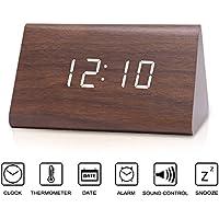 Wecker, SpeedV Creative LED Digital Holz Wecker Voice Sound Control Zeit Datum Temperaturanzeige Cube Clock für Haus, Büro, Alltag, Heavy Sleepers