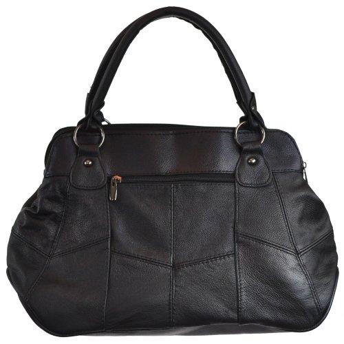 Shopping Bag Da Donna, Borsa In Pelle Con Pratica Chiusura Magnetica (marrone Scuro / Beige Scuro / Nero / Marrone Chiaro) Nero
