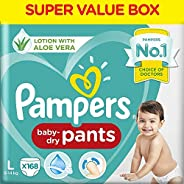 Pampers All round Protection Pants, Large size baby diapers (LG), 168 Count, Anti Rash diapers, Lotion with Al