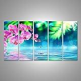 Bild Bilder auf Leinwand Orchidee im zen garten mit tröpfchen auf teich XXL 5-teilig ! Direkt vom Herstelller ! Bilder ! Wandbild Poster Leinwandbilder ! DMJ