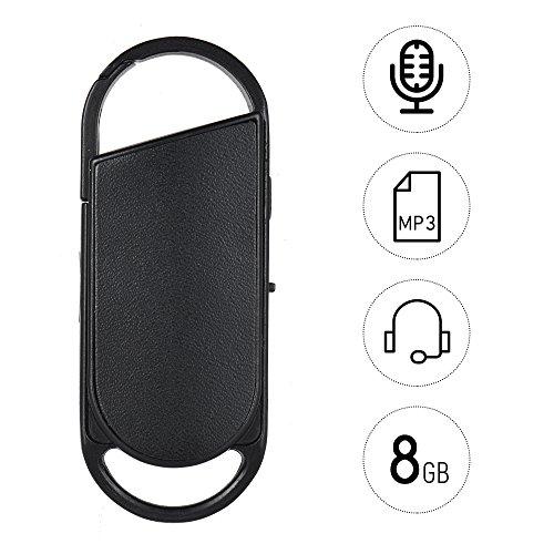Aibecy 8 GB Portable Voice Recorder USB Disk Key Ring Stil Audio Diktiergerät MP3 Player Wiederaufladbare für Vorträge Treffen