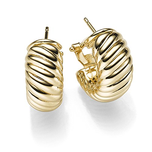 Creolen 20x19mm Clip-Stecker Ohrstecker Ohrringe mit Struktur 585 Gold Gelbgold