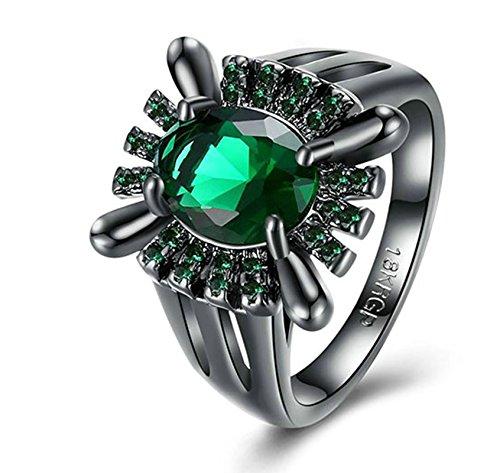Aeici Jubiläumsring für Frauen Vergoldet Oval Ringe Grün Größe 57 (18.1) Breite:1.2CM