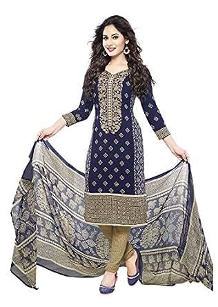 ishin Women's Synthetic Dress Material (Ishintpdm-1654B_Blue_Free Size)