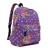 Miss Lulu, Retro-Rucksack in verschiedenen Motiven, zum Reisen oder Campen, - Violett (Blumenmuster) - Größe: Medium