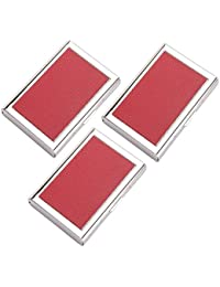 AmtiQ High Quality Stianless Steel & Synthetic Leather Red (Pack Of 3) ATM Card Holder