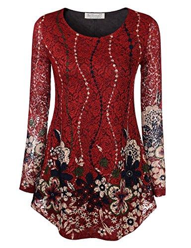 Damen Classic Langarmshirt Spitzen Rundhals Oberteil Loser Saum A-Linie Herbst Bluse L Rot Blume-1