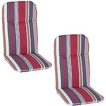 Beo B021 Bali HL - Connjunto de 2 cojines de silla, 48 x 95 x 5 cm, multicolor (rojo)