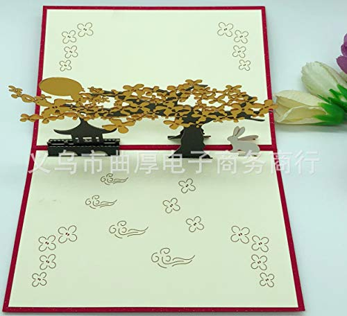ZHOUBIN 2 fogli/set Carving and Hollowing Out 3D Cards/Greeting Cards/Regali di Natale Capodanno/Auguri di compleanno/Osmanthus Fragrans