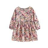 Kobay Kleinkind Baby Mädchen Kleid Langarm Prinzessin Party Pageant Kleider Kinder Kleidung (100 / 3-4 Jahr, Rosa)